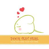 Nice sleeping mouse with hearts. Vector illustration. Place for your text — Stock Vector