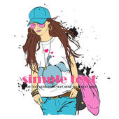 Sexy fashion girl in sketch style. Place for your text. — Stock Vector
