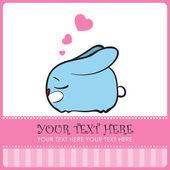 Gentil lapin dormir avec un cœur. illustration vectorielle. lieu pour votre texte — Vecteur