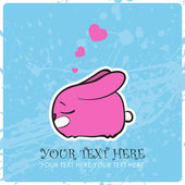 Nice sleeping bunny with hearts. Vector illustration. Place for your text. — Stock Vector
