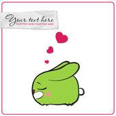 Lindo conejito durmiendo con corazones. ilustración del vector. lugar para el texto. — Vector de stock