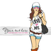 Sexy fashion girl in sketch style. Vector illustration — Stock Vector