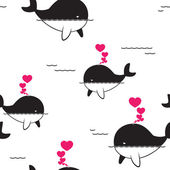 Vector seamless pattern with whale and hearts. — Stock Vector