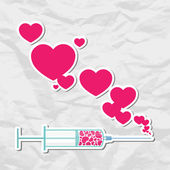 Syringe with heart. Vector illustration — Stock Vector