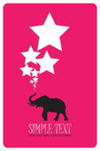Abstract vector illustration with elephant and stars. Place for your text. — Stock Vector