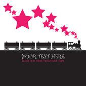 抽象矢量插画与机车和星星。您的文本的的地方. — 图库矢量图片
