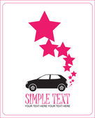 Abstract vector illustration with car and stars. Place for your text. — Stock Vector