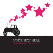 Abstract vector illustration with tractor and stars. Vector illustration. Place for your text. — Stock Vector