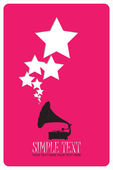 Vintage gramophone with stars. Abstract vector illustration. Place for your text. — Stock Vector