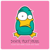 Crazy duck vector illustration. Place for your text. — Stock Vector