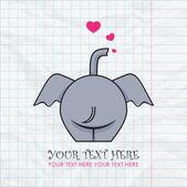 有趣的大象和纸张背景的心。矢量插图。您的文本的的地方. — 图库矢量图片
