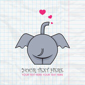 Funny elephant and hearts on a paper-background. Vector illustration. Place for your text. — Stock Vector
