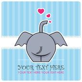 Grappige olifant en harten. vectorillustratie. plaats voor uw tekst. — Stockvector