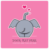 Funny elephant and hearts. Vector illustration. — Stock Vector