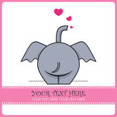 Funny elephant and hearts. Vector illustration. Place for your text. — Stock Vector