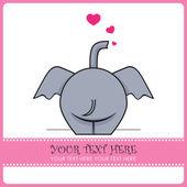 Komik fil ve kalpleri. vektör çizim. metin için yer. — Stok Vektör