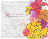 Beautiful flowers on a paper-background. Vector illustration. Place for your text. — Stock Vector