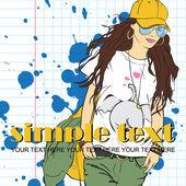 Chica de moda en el estilo de dibujo en una ilustración de fondo sucio .vector. — Vector de stock