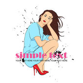 Sweet fashion girl in sketch-style on a grunge-background.. Vector illustration. Place for your text. — Stock Vector
