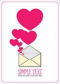 Ilustração em vetor abstrato com envelope e corações. lugar para o seu texto. — Vetorial Stock