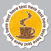 Vector sticker with cup from coffee bean. Place for your text. — Stock Vector