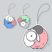 Set of tags with cute sheep.Vector illustration. — Stock Vector