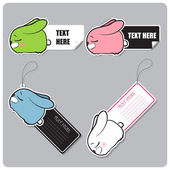 Vector conjunto de tags e adesivos com coelho dormindo. — Vetorial Stock