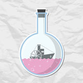 Abstract vector illustration of flask with steamship. — Stock Vector