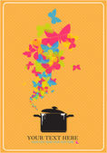 Abstract vector illustration with pan and butterflies. Place for your text. — Stock Vector