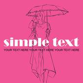 Móda dívka v náčrtu stylu. vektorové ilustrace. místo pro váš text. — Stock vektor