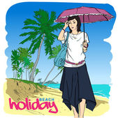 Fashion girl in sketch-style on a beach-background. Vector illustration. Place for your text. — Stock Vector