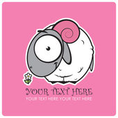 Withe sheep cartoon character with flower. Vector illustration. — Stock Vector