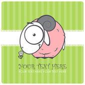 Personaje con flor rosa ovejas de dibujos animados. ilustración vectorial — Vector de stock