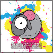 Sheep cartoon character on a dirty background. Vector illustration. — Stock Vector
