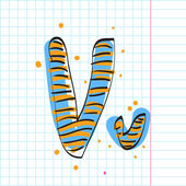 Letter v from candy alphabet on a writing-book-background. Vector illustration — Stock Vector