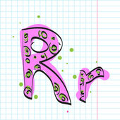 Letter r from candy alphabet on a writing-book-background. Vector illustration — Stock Vector