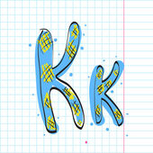 Letter k from candy alphabet on a writing-book-background. Vector illustration — Stock Vector
