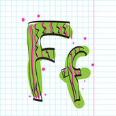 Letter f from candy alphabet on a writing-book-background. Vector illustration — Stock Vector