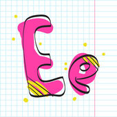 Letter e from candy alphabet on a writing-book-background. Vector illustration — Stock Vector