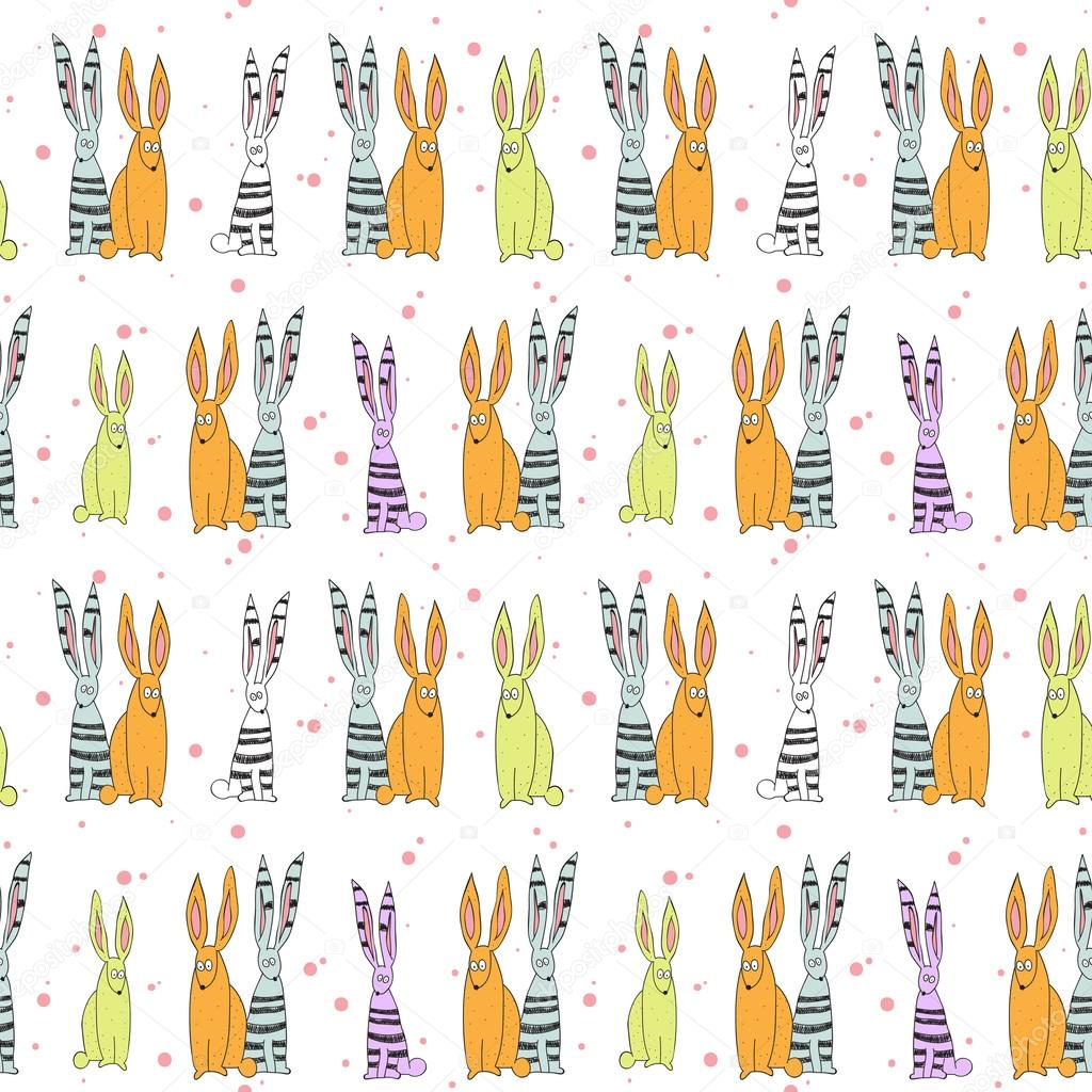 Cute rabbits seamless background. Vector illustration.  Stock Vector #19215235