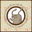 Greeting card with cat rabbit and branches. Place for your text. Vector illustration. - Stockvectorbeeld