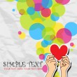 Hands holding the heart on a paper-background. Vector illustration. Place for your text. — Stock Vector