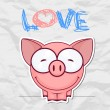 Stock Vector: Cute vector piggy with heart. Place for your text.