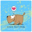 Funny doggy in sketch style on a dirty-background. Vector illustration. Place for your text. - Imagen vectorial