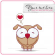 Vector illustration of cute doggy. Place for your text. - Stok Vektör
