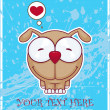 Vector illustration of cute doggy on a dirty background. Place for your text. - Vektorgrafik