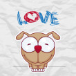 Vector illustration of cute doggy on a paper-background. Place for your text. - Stok Vektör