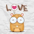 Vector illustration with cute cartoon hamster on a paper-background. - Stock Vector