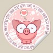 Vector sticker with pig. Place for your text. — Stock Vector