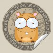 Vector sticker with cartoon hamster. Place for your text. - Imagen vectorial